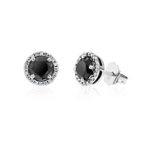 Balto aukso auskarai su juodu ir baltais deimantais