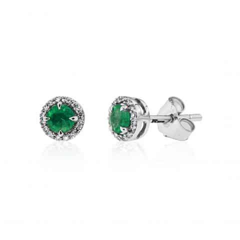 Balto aukso auskarai su smaragais  ir deimantais