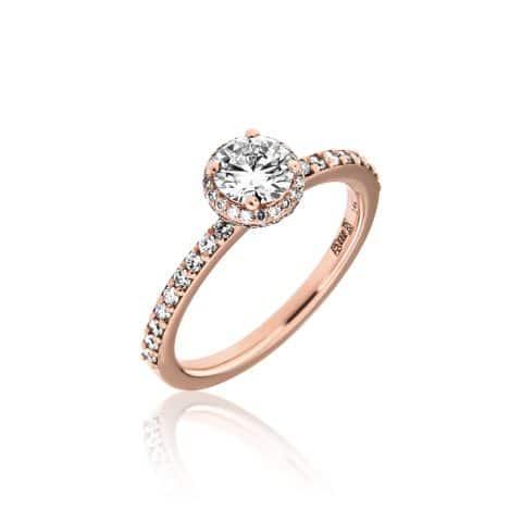 Rožinio aukso žiedas su deimantais