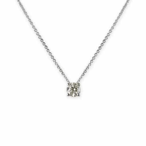 Balto aukso pakabukas su deimantu su grandinėle