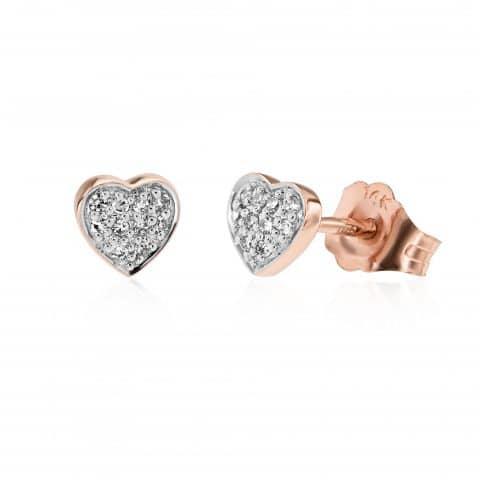 Rožinio aukso auskarai su deimantais, širdelės