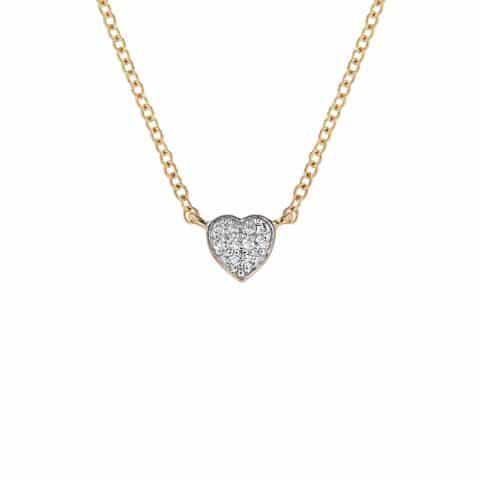 Geltono aukso grandinėlė su pakabuku, širdelė
