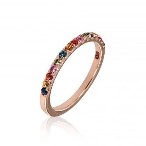 Rožinio aukso žiedas su įvairiaspalviais safyrais