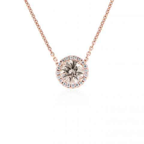 Rožinio aukso pakabukais su deimantais su grandinėle