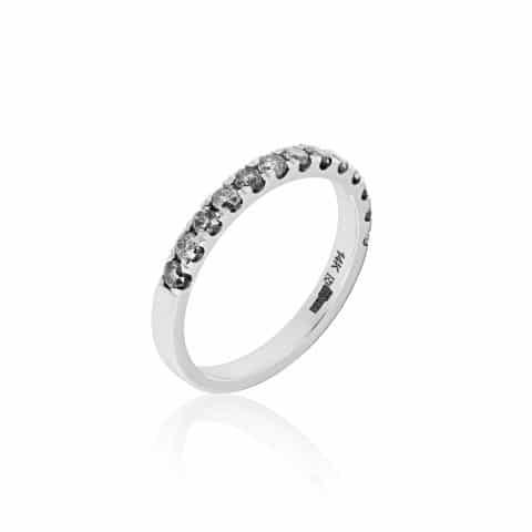 Balto aukso žiedas su salt&pepper deimantais