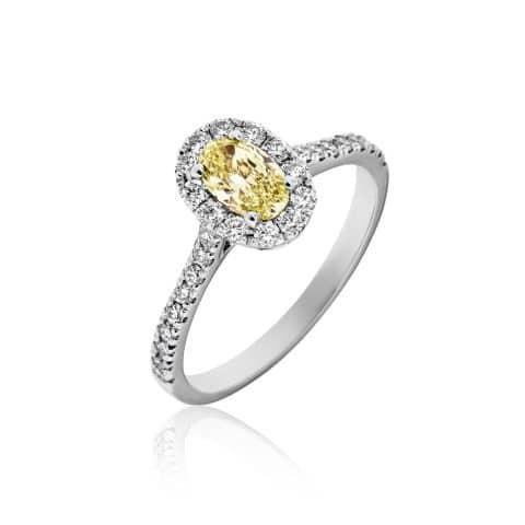 Balto aukso žiedas su Fancy Yellow deimantu