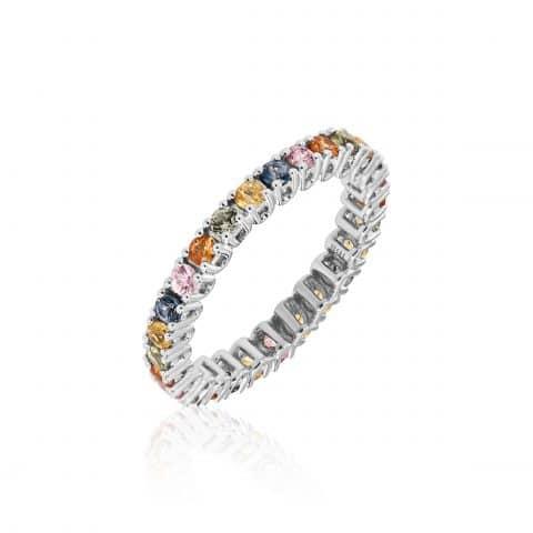 Balto aukso žiedas su ivairiaspalviais safyrais