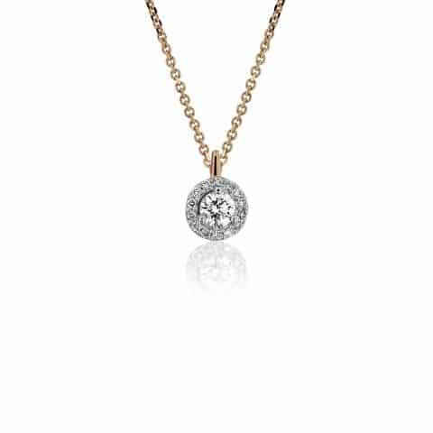 Geltono aukso pakabukas su deimantais su grandinėle