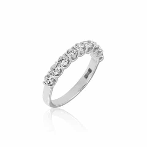 Balto aukso žiedas su 9 deimantais