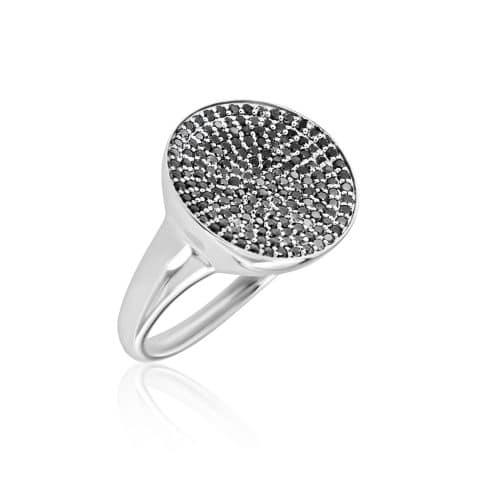 Balto aukso žiedas su juodaisiais deimantais