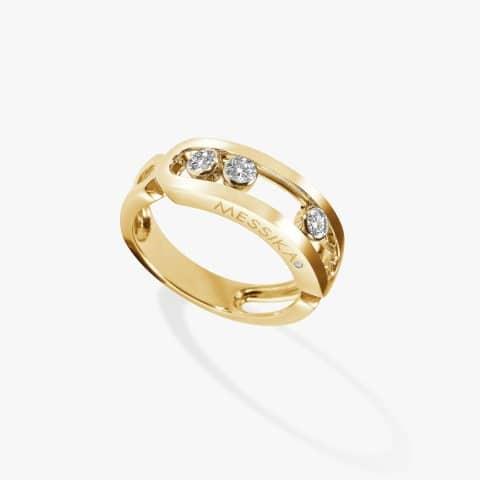 MESSIKA geltono aukso žiedas su deimantais MOVE RG