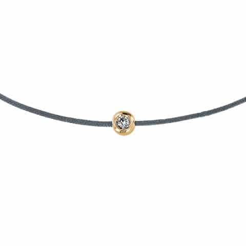 Pilka apyrankė-juostelė su 0,02 ct deimantu (geltonas auksas)