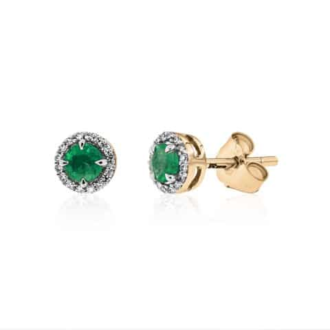 Geltono aukso auskarai su smaragdu ir deimantais